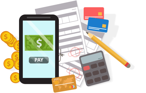mobile phone,papers,coins,cards,calculator and pencil icon